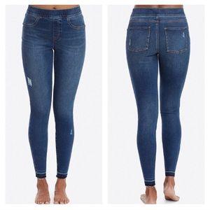 Spanx medium wash distressed blue jeans